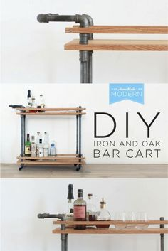 This DIY Bar Cart is made from oak boards and iron plumbers pipe and has a nice rustic modern style. This is a very simple and forgiving project to make that only requires right angle cuts and some semi precise hole drilling. This design concept of threading boards on pipes could be adapted to makes carts in a verity of different sizes. Check out the free instructions on RYOBI Nation.