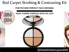Maelle Red Carpet Strobing & Contouring Kit Targets • Facial features lacking definition, light and shade Results • Features appear defined, slimmed and highlighted
