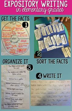 Expository Writing in elementary school.  Learn how to elicit the facts from students, read expository text, sort the facts, organize facts, and help students transfer the facts to a written paragraph.  A great series of blog posts on how to help students