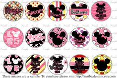 Disney Mickey and Minnie Mouse Bottle cap images No. B28. $2.75, via Etsy.