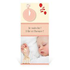 Faire-part naissance Sophie la girafe Pile à l'heure - Cardissime - Pile à l'heure, qui l'aurait cru ? Faire-part clin d'œil pour annoncer la naissance de votre bébé après tous ces mois de patience.