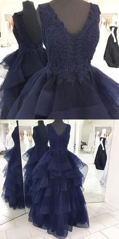 2017 Custom Made Navy Blue Prom Dress,Appliques Beaded Evening Dress,V-Neck Party Dress,High Quality