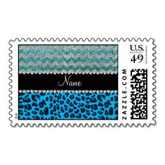 Name sky blue leopard turquoise glitter chevrons postage stamp