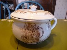 Victorian Chamber Pot Thunder Pot by PamelaMurphyVintage on Etsy, $95.00