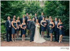 Wedding party, so thankful for them all! Brooks Brothers groomsmen shirts + ties. Jenny Yoo Nanette bridesmaid dresses with purple bouquets