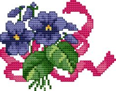 Violets cross stitch pattern and color chart free download on www.cross-stitch-academy.com. Many free downloads on this site!