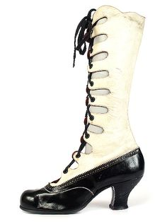 1920s Russian Two-Tone Lady's Gillie Hight Boots by Skorokhod