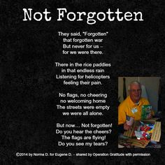 """How do I begin to thank all of the people involved in Operation Gratitude? It was overwhelming how many were involved in my recent Honor Flight experience…And of course your organization! My wife, Norma, experienced my emotion and wrote this poem which exemplifies my deep feelings and thankfulness. Eugene D."""