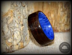 """Ebony on Juma Marbled Lapis Gemstone """"Ultramarine"""" using my bentwood process durable and unique natural wood ring. 5th Anniversary Gift Ideas, Wood Engagement Ring, Purple Heart Wood, Sand Glass, Antler Ring, How To Make Rings, Wood Rings, Unique Rings, Natural Wood"""