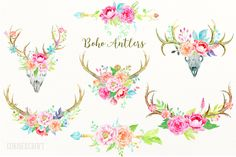 Wedding clipart Boho Antlers - watercolor antler and deer skull peony bouquet, posies an floral arrangements for instant download, wedding by CornerCroft on Etsy