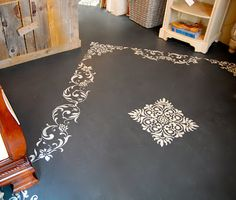 painted floor in graphite annie sloan chalk paint