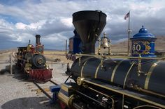 Matt Van Hattem photo - At the Golden Spike National Historic Site in Promontory, Utah, two replica steam locomotives built in 1979 recreate the historic meeting of Central Pacific's Jupiter and Union Pacific No. 119 at the completion of the first transcontinental railroad, May 10, 1869.