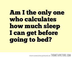 Sleep calculations…