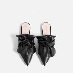 ZARA - COLLECTION AW16 - LEATHER SLIDES WITH BOW