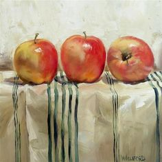 """Three Apples"" - Original Fine Art  - © Kathleen Williford. Beautiful shadows in the cloth."
