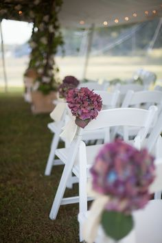 Purple hydrangeas as aisle decor.  Planner: The Party Connection | Flowers: Innovative Florals.