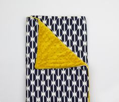 Baby blanket – Aztec/geometric and soft minky – navy blue, yellow, white, cuddle, modern, handmade, unique, play mat by abbeyshousequilts on Etsy https://www.etsy.com/listing/231385054/baby-blanket-aztecgeometric-and-soft