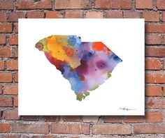 South Carolina Map - Abstract Watercolor Art Print - Wall Decor
