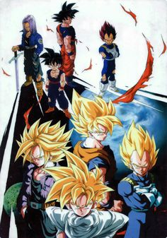 Goku, Vegeta, Future Trunks & Gohan #dbz #dragonball
