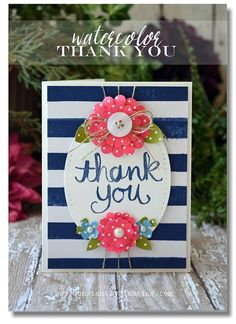 Connie Collins: Constantly Stamping: In the Mood for Spring - 3/5/15,  (SU: Watercolor Thank You stamp; Birthday Bash dsp; Scallop punches for flowers).