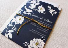 navy blue yellow and white with bird wedding invitation