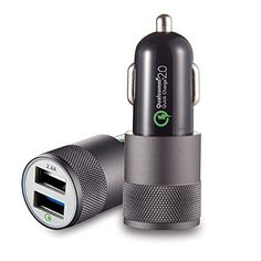 SMALLElectric 48A 24W  2  Smart Port USB Car Charger Fast charging Adapter  Quick Charge 20 with PowerIQ for Galaxy S7  S6  S6 Edge  iPhone  iPad  LG G5  Nexus  HTC and More Black -- See this great product.