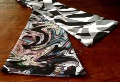 """Pink Marble"" wing-scarf with abstract poly silk 57"" long"