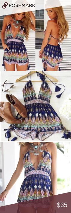 Boho Backless Romper/ size small This super cute backless boho romper is perfect for summer! NWOT, this is true to size fit. Price negotiable :) Pants Jumpsuits & Rompers
