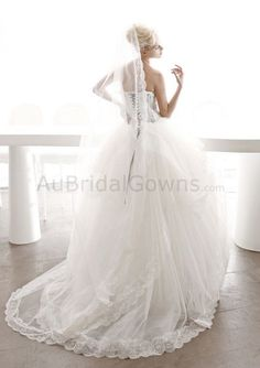 Tulle Ball Gown Strapless Straight Neckline Appliqued Bodice Wedding Dress
