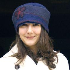 Unique felt hats Blue felt hat pillbox style wool hat ooak hat nuno felting hand made in france Chapeau merino wool  laura