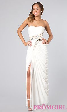 Long Strapless Dress with Grecian Drape at PromGirl.com