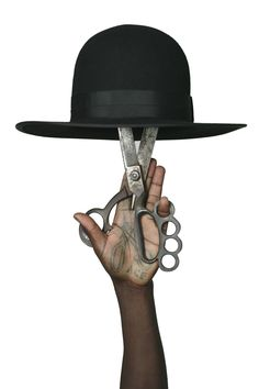 Madhatter, still-life of hand, shears and hat for Art Comes First, Art direction Sam Lambert and Shaka Maidoh of Art Comes First. artcomesfirst:  ACF Madhatter