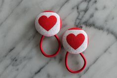 Red Valentine heart pony tail holders make super Valentine hair flair by Baby Raindrops, $5.95