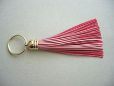 Pastel Pink Leather Tassel Key