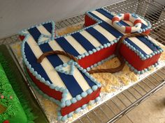 Nautical Themed Striped Anchor Cake in Navy + White + Red - Perfect for a Sailor Baby Shower! Nautical Cake, Nautical Party, Anchor Party, Nautical Anchor, Baby Shower Cakes, Baby Boy Shower, Bolo Do Mario, Anchor Cakes, Sailor Baby Showers