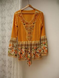 Upcycled Unique cotton blouse, reworked decorated tunic Shabby Chic blouse, gypsy style, art bohemian tunic