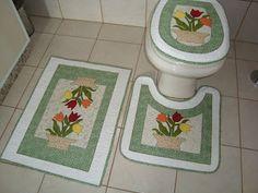 ROSE VELHO PATCHWORK: Jogo de Tapetes para banheiro
