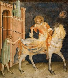 Martin of Tours and the Beggar, painted about 1320 by Simone Martini for the chapel of St. Martin in Assisi Martini, Italian Painters, Italian Artist, Siena, Tempera, Fresco, Renaissance Kunst, Giorgio Vasari, Web Gallery Of Art