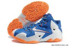 Blue White Orange Nike Lebron XI (11) ...
