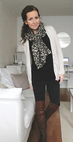 cream cardi + long black top + black skinnies + cognac boots + leopard scarf.. Cute fall outfit