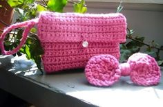 Cute gift for a girl. Crochet purse and matching hair clip.