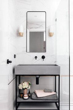 Nood Co Concrete bathroom vanity Grey Bathrooms, Beautiful Bathrooms, Small Bathroom, Master Bathroom, Luxury Bathrooms, Minimal Bathroom, Master Bedrooms, Modern Bathroom, Parisian Bathroom