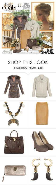 """""""In the shade"""" by helleka ❤ liked on Polyvore featuring Celestine, Missoni, AllSaints, The Row, MICHAEL Michael Kors, wool coats, suede pumps, cocktail rings, leather skirts and funnel neck tops"""