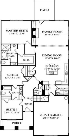 open floor plan Needs WIC for other bathrooms. open floor plan Needs WIC for other bathrooms. Image Size: 236 x 465 Source Best House Plans, Dream House Plans, Small House Plans, House Floor Plans, Cottage House Plans, Cottage Homes, Craftsman Cottage, Dere, Build Your Dream Home