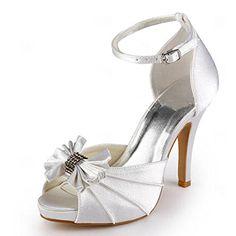 6a7458e75e4bd0 Elegantpark EP11050-IP Bout Ouvert Noeud Plisse Rhinestones Plateforme  Femmes Satin Chaussures de Mariee: Amazon.fr: Chaussures et Sacs