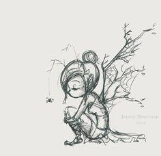 Squash 'n Sketch: Branch Fairy : Jenny Sherman. love this little sketch - Squash 'n Sketch: Branch Fairy : Jenny Sherman… love this little sketch - Fairy Wings Drawing, Fairy Drawings, Fantasy Drawings, Cool Art Drawings, Art Drawings Sketches, Pencil Drawings, Fantasy Art, Easy Fairy Drawing, Easy Person Drawing