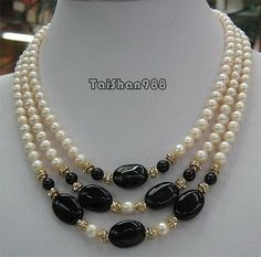 3 Rows Real White Pearl Black Agate 18KGP Crystal Pendant Necklace #Beads #Necklace #Pearls #Round #TripleStrand. Classic.