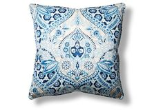 This bold, reversible pillow features a stylized botanical design hand-screened on cotton-blend basketweave fabric with coordinating fringed edges. Insert included.