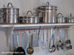 6. DIY Pot Rack. Kitchen organization for less than $10? Count me in. This Houzz user made some simple but effective storage out of a thrift store shelf and brackets, and a piece of copper tubing from the hardware store. Simple S-hooks hang utensils right at hand.
