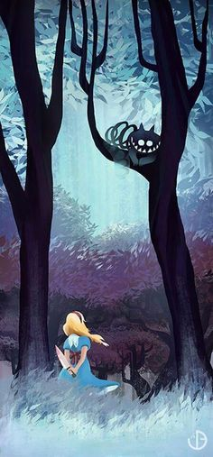 Alice in Wonderland  ~in the forest, Cheshire in tree